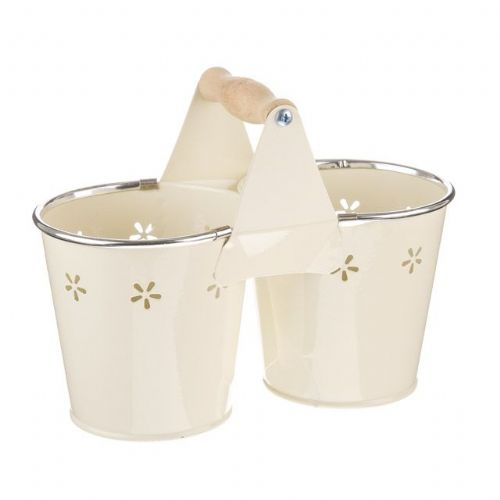 Daisy Twin Bucket Planter Flower Pots Cream